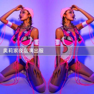 酒吧熒光派對gogo演出服粉色連身b組dj領舞嘻哈運動潮牌ds爵士舞
