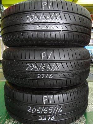 {順加輪胎}中古倍耐力 P1 205/55/16 胎紋極新 無燒補 跳花 (2216)輪胎如圖所示(起標價為三條)