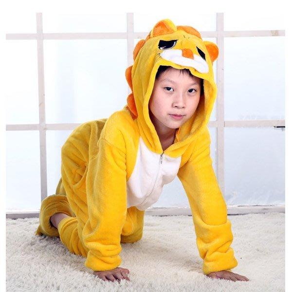 5Cgo【鴿樓】會員有優惠  41612406322 秋冬款兒童卡通動物連體睡衣法蘭絨獅子套裝如廁版 家居室內服