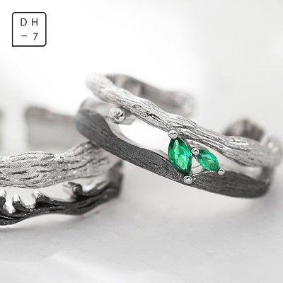 DH7原創枯木逢春情侶戒指純銀一對小眾設計男女對戒簡約輕奢指環