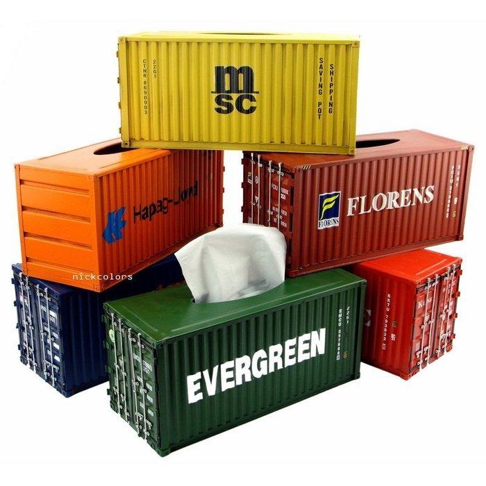 尼克卡樂斯~手工鋼板貨櫃面紙盒 工業風面紙盒 仿舊風格 鐵製貨櫃紙巾盒 工業風擺飾 儲物盒 桌面擺飾 餐廳服飾店擺設裝飾