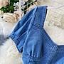 JYUNS 春夏新款百搭氣質方領法式泡泡袖性感收腰顯瘦短袖洋裝連身裙 1色S/M/L預購