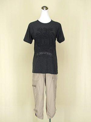 貞新 morphine 正韓 灰黑圖紋圓領短袖棉質上衣F號+cache 專櫃 駝色棉質七分褲m(2號)(56199)