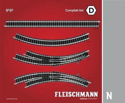 傑仲 博蘭 FLEISCHMANN 鐵軌零件 Track pack Station Set D 9191 N