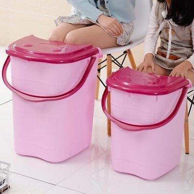 44cm泡腳桶 家用泡腳桶塑料加大加高按摩洗腳桶泡腳木桶帶蓋保溫足浴盆洗腳盆