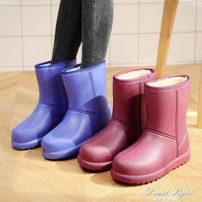 加絨雨鞋女保暖中筒棉雨靴成人廚房防滑加棉水靴防水膠鞋水鞋