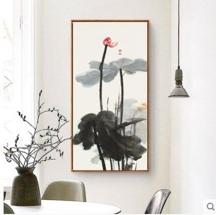 『格倫雅』彩荷鏡心 張大千裝飾畫荷花掛畫新中式水墨畫國畫客廳茶館墻畫^27710