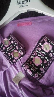法國【sandro】紫芋色民俗風七分袖V領棉衫