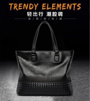 ZIHOPE 公事包 編織韓版時尚新款男包 潮流復古皮質橫款 手提包潮ZI812