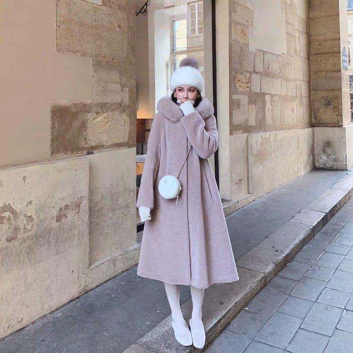 ❤JM SHOP韓風❤冰雪女王大狐狸毛領全羊毛顆粒絨連帽長款大衣