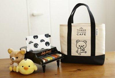 [瑞絲小舖]~日雜Mook附錄RILAKKUMA×TOWER RECORDS CAFE聯名提袋 手提包 便當包 午餐包