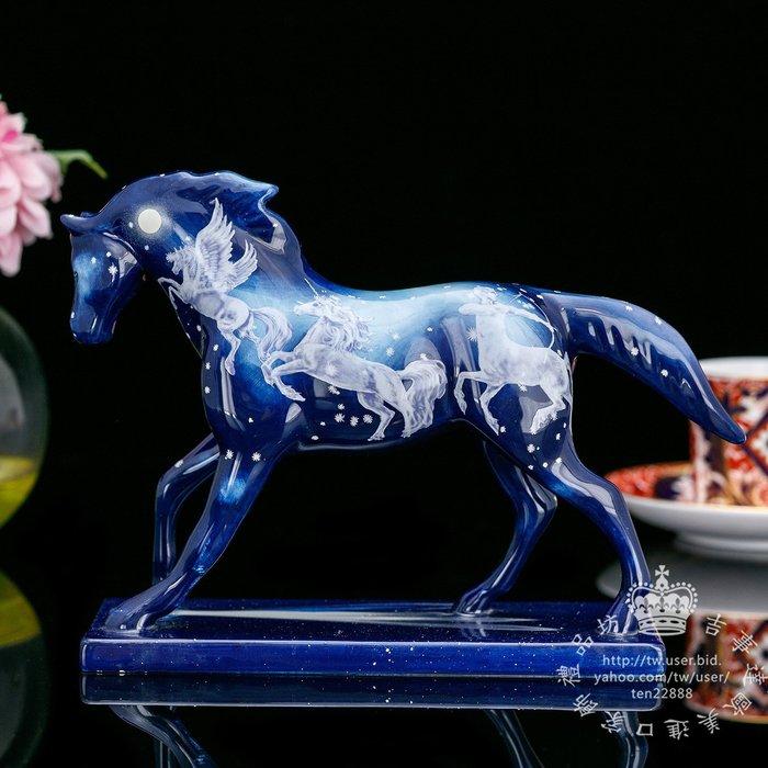 【吉事達】美國PaintedPonies 2007現代藝術手工彩繪限量陶瓷馬 收藏藝術擺飾~仙境星空