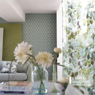 雜貨集市MAPLE TREE CELADON 英國原裝進口窗簾面料抱枕 新中式水墨楓樹葉