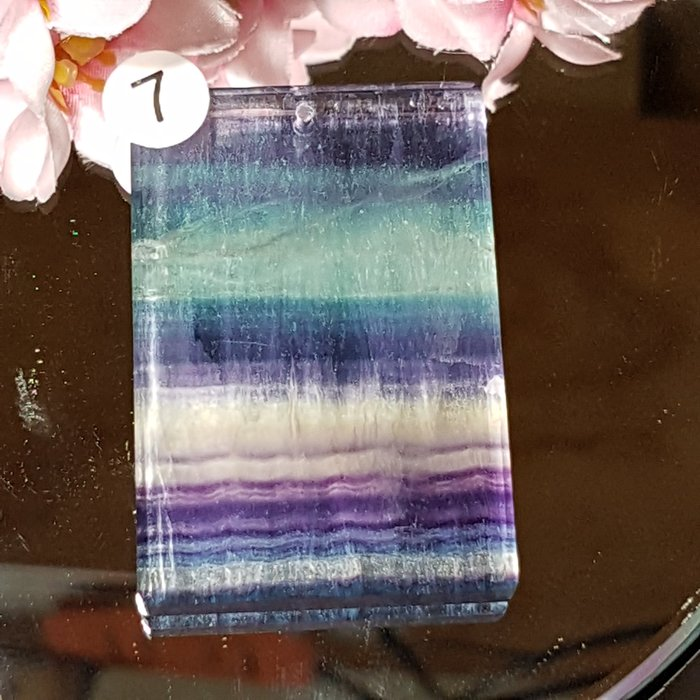 二姐的店 螢石 平安無事牌 項鍊墜飾 天然艷麗彩虹色 ~b634-7◎特價