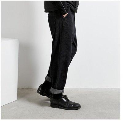 【鈷藍家】SU自制yohji風小眾山本暗黑百搭純棉牛仔直筒褲 兩穿 直筒牛仔長褲