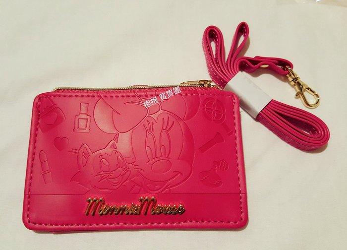 ❤日本迪士尼限定直送❤桃紅米妮雕刻紋拉鍊零錢包/票卡夾/證件夾