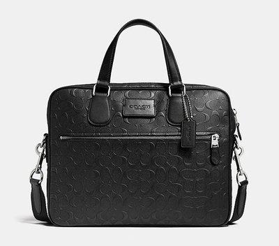 (Outlet特惠)COACH 71752 新款男士壓花皮革手提包 側背包 可裝筆電 附代購憑證