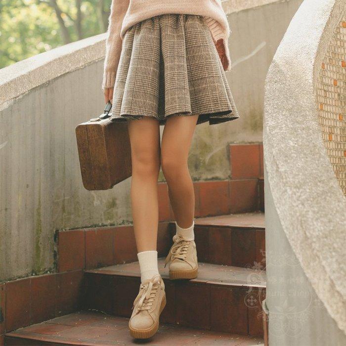 日系森林系森女顯瘦修身新品學生麷復古氣質格子百褶裙/短裙/半身裙/毛呢裙 優米小舖+TK20J02