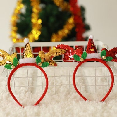聖誕節裝飾品發光頭箍兒童發夾成人雪人鹿角頭扣裝扮禮品聖誕頭扣