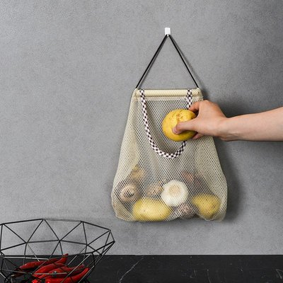 廚房收納袋-可掛式收納網袋 多功能掛袋 透氣 洋蔥 大蒜 蔬果收納袋 鏤空收納袋(長款)_☆找好物FINDGOODS☆