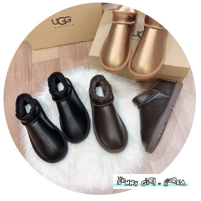 雪靴*Sunny Girl*澳洲UGG同廠真皮5854金屬款防水面羊毛短筒懶人鞋 2020一月新款 - [WH1444]