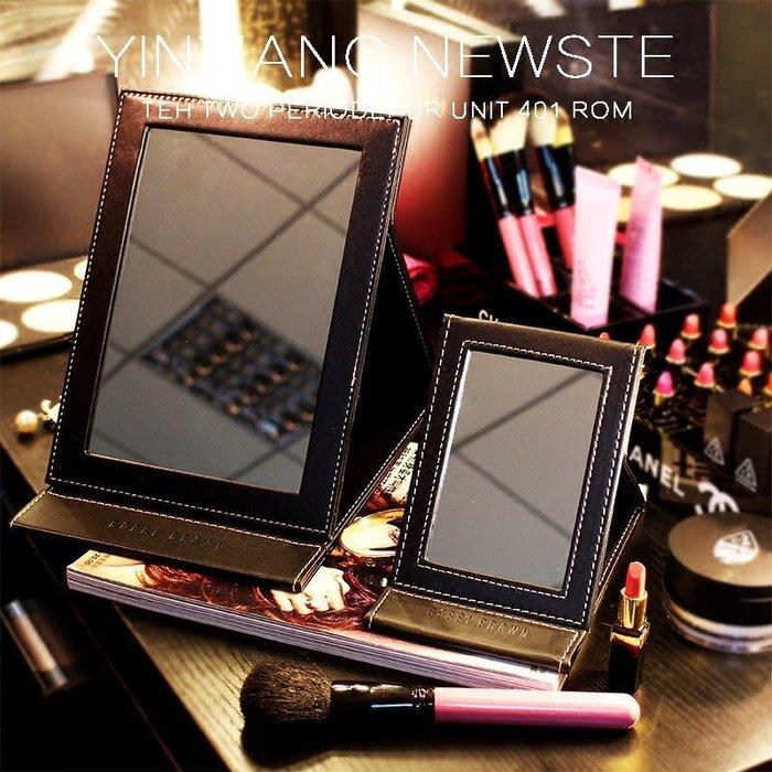 PARIS WOMAN.Bobbi Brown 經典極緻簡約黑色 仿皮皮革折疊鏡 化妝鏡 隨身鏡(大)