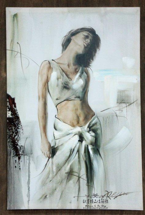 ~*~歐室精品傢飾館~*~鄉村風格 手工 繪製 工筆 油畫 時尚 摩登 女子 無框畫 掛畫 掛圖 壁飾 A款~新款上市~