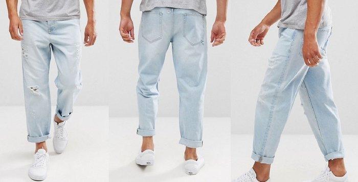 ◎美國代買◎ASOS刷破褲管淺藍刷色寛鬆寛褲管褲反摺褲口英倫頹街風刷破寛管牛仔褲~歐美街風~大尺碼~