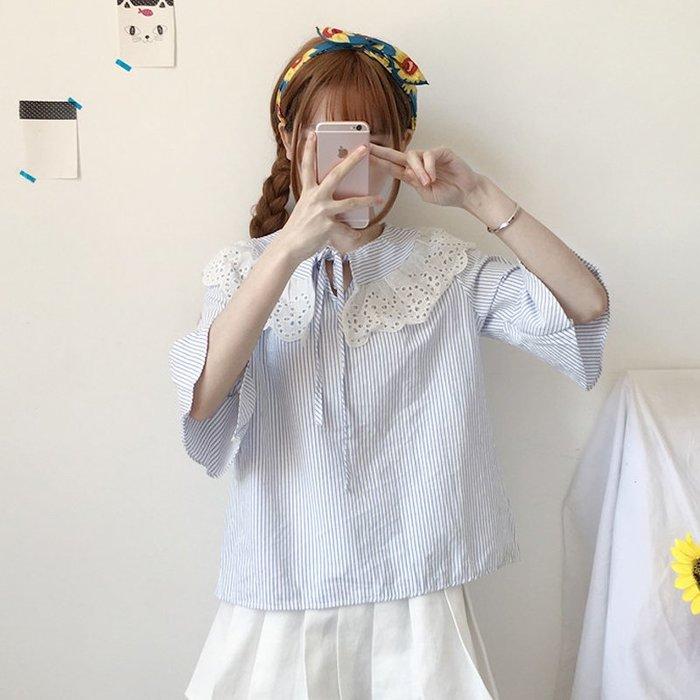 蕾絲 上衣 正韓夏裝新款女裝2018韓版甜美學院風百搭條紋T恤蕾絲拼接娃娃領上衣6-16