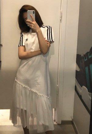 現貨 adidas 洋裝 短袖 長版 愛迪達 紗裙 薄紗 黑 白 gk3663 gk3662 女