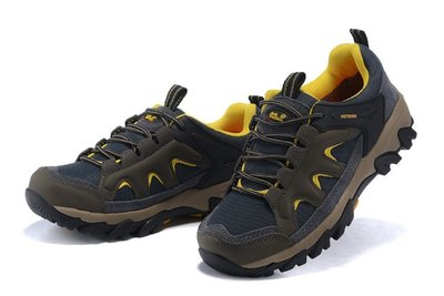 Jack Wolfskin狼爪戶外運動鞋 防水登山鞋徒步工作鞋 飛狼低幫休閒鞋 牛皮四季女鞋9006灰黃36-39碼