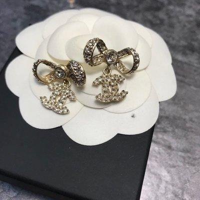 Chanel 香奈兒 金色水鑽logo+蝴蝶結耳環 高雄市