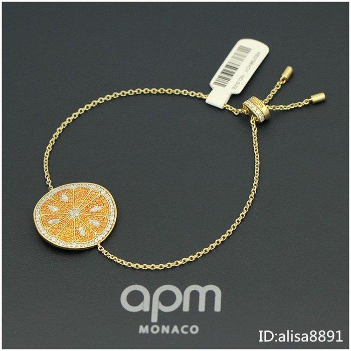 APM monaco手鏈 簡約圓牌橙子手鏈 時尚個性設計感水果手環 女生手串手鐲 橘色純銀首飾品