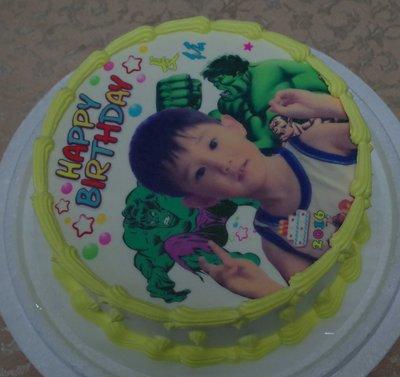 六吋 客製化  人像 + 浩克 綠巨人 情人節禮物 生日 相片 卡通  造型  蛋糕
