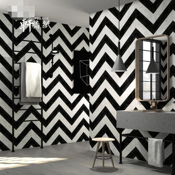 壁貼 壁紙 北歐黑白條紋壁紙現代簡約幾何曲線條紋酒吧服裝店客廳工業風牆紙—莎芭