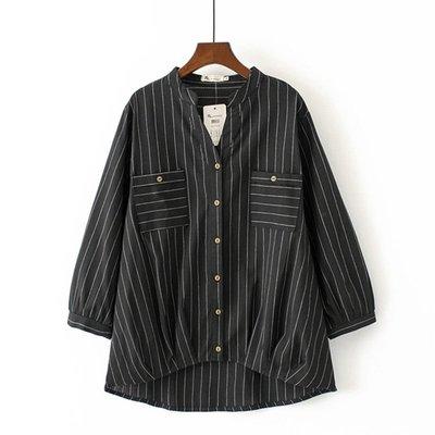 韓國連線- 春裝新款2019大碼女裝2色加大純棉條紋前短後長襯衫Z190580  黑色