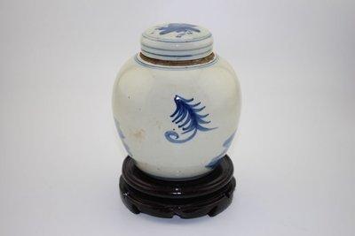 ㊣姥姥的寶藏㊣清光緒青花花鳥茶葉罐 景德鎮古瓷器古玩古董民間收藏老貨