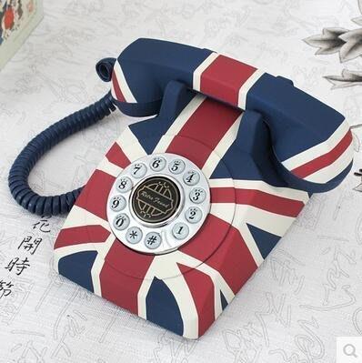 【優上】英國經典米字旗復古電話機歐式仿古電話機座機固話機