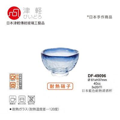 星羽默 小舖 日本津輕 手作 耐熱 藍邊 琉璃 清酒杯 40cc (3入) 特價中!