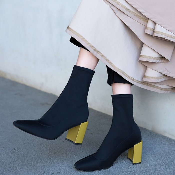 SeyeS  {韓國空運} 個性英倫歐美時尚搖滾配色跟襪套短靴