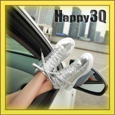 學院風街頭金屬色搶眼舒適內增高亮面綁帶運動鞋-銀/黑35-39【AAA0861】預購