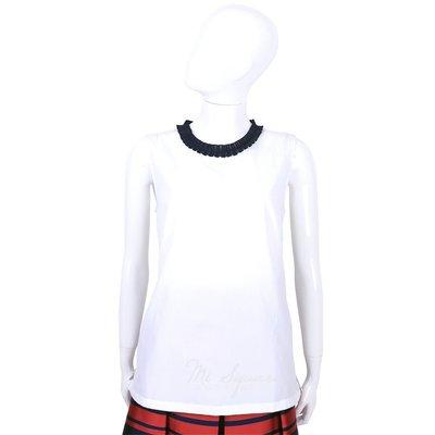 米蘭廣場 MAX MARA-'S Max Mara 白x深藍色抓褶領拼接無袖上衣 1520866-77