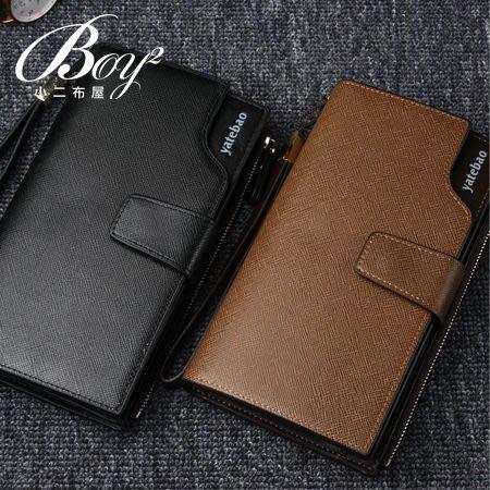 BOY2小二布屋-手包 壓扣配色拉鍊長皮夾 錢包【NQA5049】