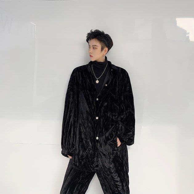 FINDSENSE 2019 秋季上新 G19 復古流行慵懶亮面絲絨壓皺垂感外套褲子 套裝 男裝
