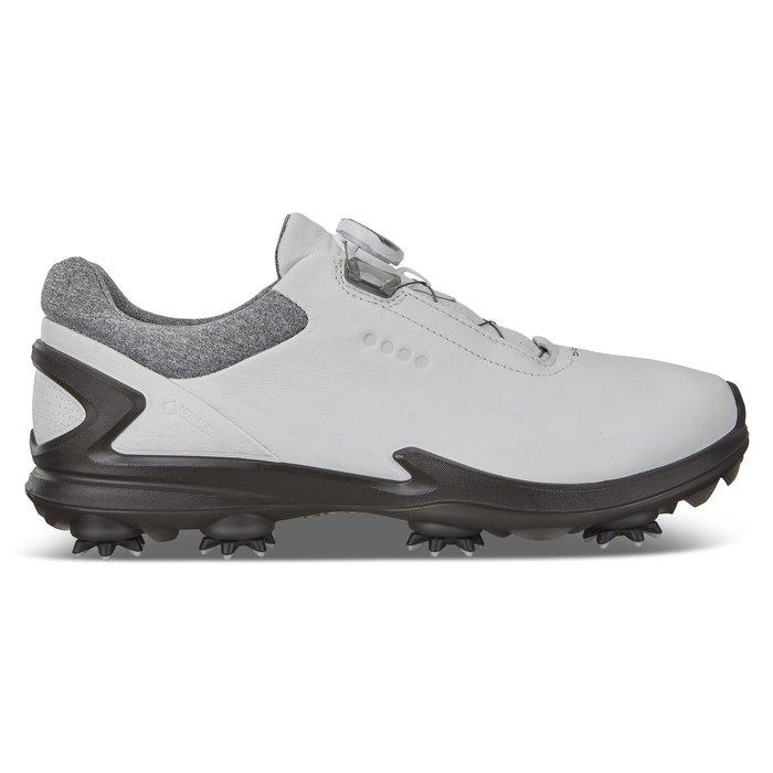 ┌喻蜂高爾夫┐ECCO 男高爾夫球鞋 白/灰 紐鎖免綁鞋帶 有釘款 現貨41~43號