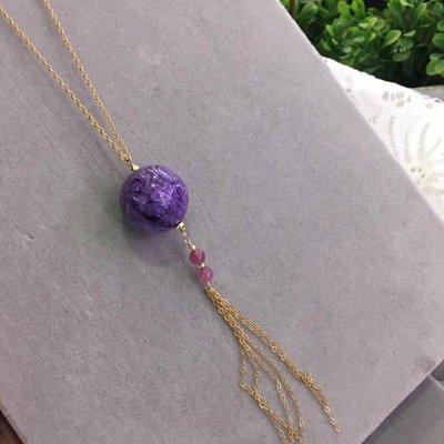 天然紫龍晶吊墜,配紅紋石搭配十四千包金鎖骨鍊20mm重13.2g
