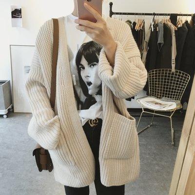 CHERRY LALA 韓國單實拍簡單粗棒針寬鬆中長款針織毛衣開衫外套-米杏/深灰 M0102  韓妮 chic