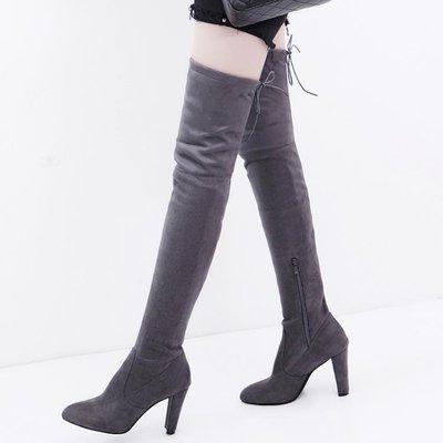 膝上靴尖頭高跟過膝靴長靴粗跟長筒靴顯瘦女士彈力靴高筒靴騎士靴女靴子