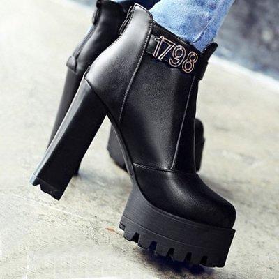 AS0161 34-39碼 韓系 粗跟 防水台 女靴 短靴 馬靴 靴子 短筒 踝靴 大碼 女鞋 大尺碼女鞋