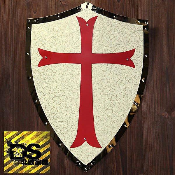 DS北歐家飾§loft工業風古羅馬盾牌紅白壁飾掛飾玄關壁掛酒吧仿舊復古美式鄉村 中世紀帝國